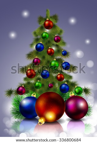 Christmas tree with decorations - stock vector