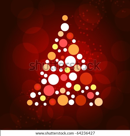 Christmas tree with dots and stars on red background. - stock vector