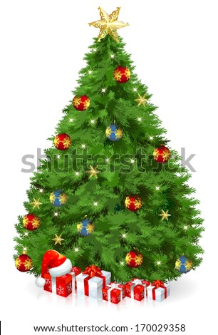 Christmas Tree with gift boxes/ Christmas Tree - stock vector