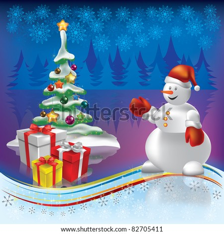 christmas tree with gifts and snowman on blue background - stock vector