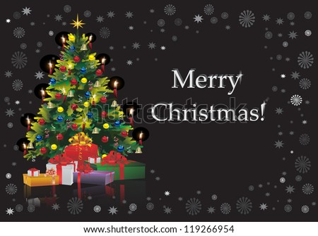 Christmas Tree with Gifts isolated on black - stock vector