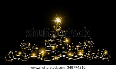 christmas tree with glowing gold stars and many gift boxes on dark background, outline, vector illustration - stock vector