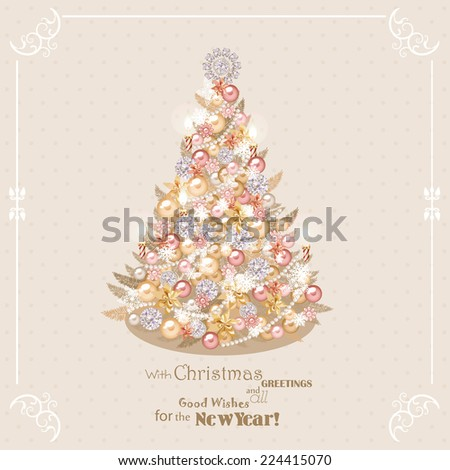 Christmas tree with golden and silver decorations. Vector illustration. New year - stock vector