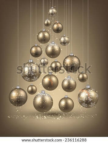Christmas tree with golden christmas balls. Vector illustration.  - stock vector