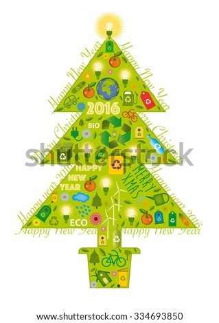 Christmas tree with green icons - stock vector