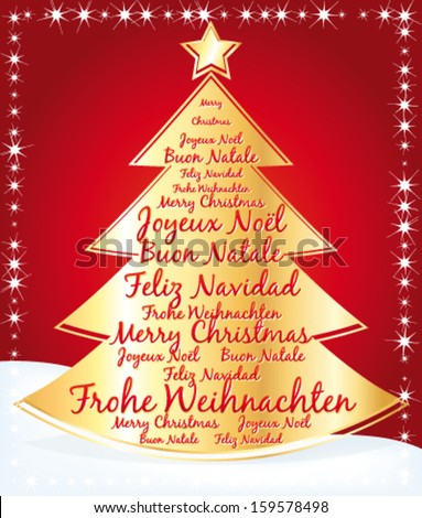 Christmas tree with greetings written in several languages. Vector illustration.