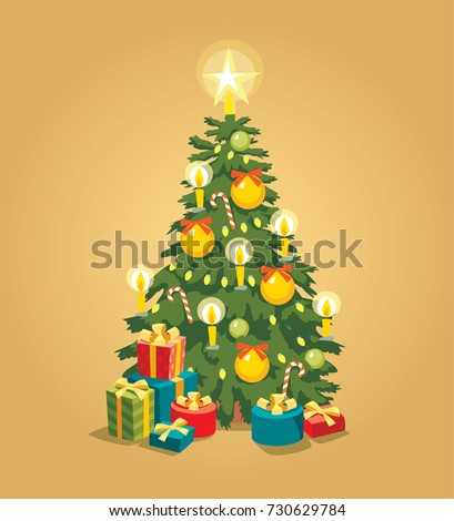 christmas tree with lights ornaments and presents - Christmas Tree With Lights