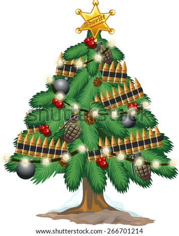 Christmas tree with military ammo and grenades - stock vector