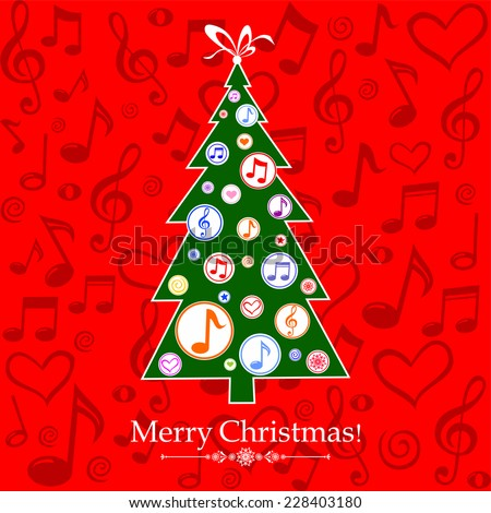 Christmas tree with musical notes. Vector Illustration - stock vector