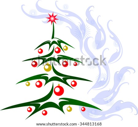 Christmas tree with red and golden balls and star. EPS10 vector illustration. - stock vector
