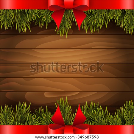 Christmas tree with red bow on the wood background. Vector illustration. - stock vector