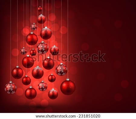 Christmas tree with red christmas balls. Vector illustration.  - stock vector