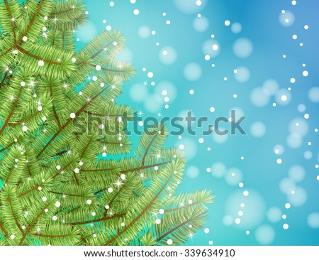 Christmas tree with snow on blue abstract background. Vector illustration merry christmas for cards, advertising banners. The image of the new year holiday. - stock vector