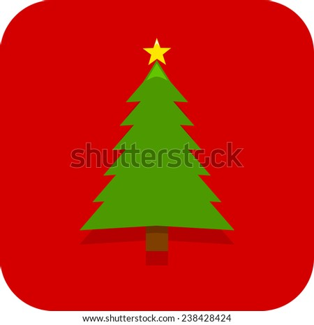 Christmas tree with star decoration icon - stock vector