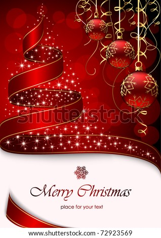 Christmas tree with stars and balls on red background, illustration - stock vector