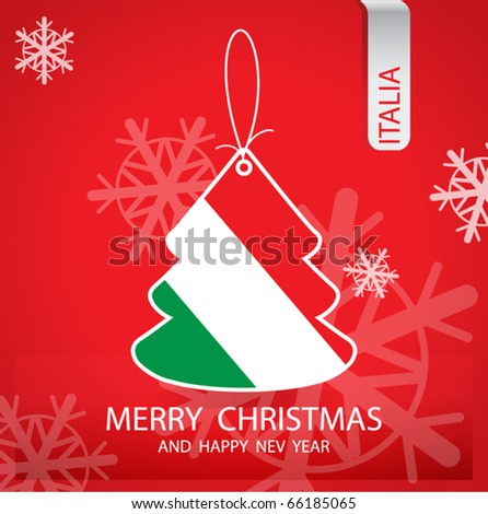 Christmas tree with the flag of Italy - stock vector