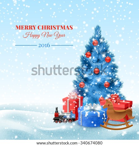 Christmas tree with toys and gift boxes postcard vector illustration - stock vector