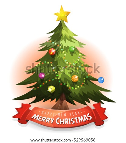 Christmas Tree With Wishes Banner/ Illustration of a cartoon merry christmas tree, with wishes and happy new year message on red banner
