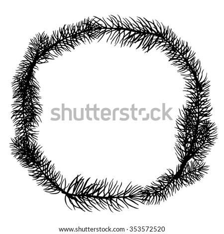 Christmas tree wreath, black silhouette. Pine, fir, spruce. Frame isolated on white background - stock vector