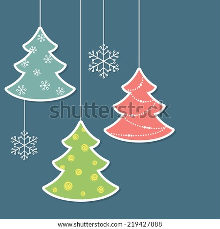 Christmas trees and snowflakes in paper cutout style - stock vector