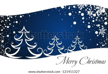 Christmas trees and winter background