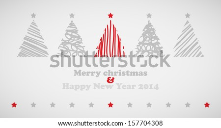 Christmas trees background with stars - stock vector