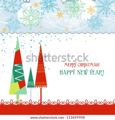 Christmas trees card in traditional colors over white - stock vector