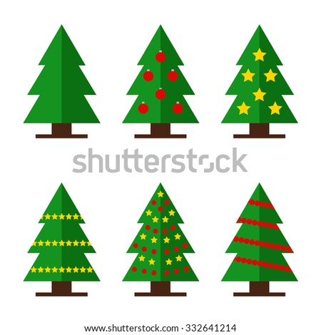 Christmas trees. Collection of decorated christmas trees. Isolated christmas trees on background. New year trees. Fir tree icons. Flat style vector illustration.  - stock vector