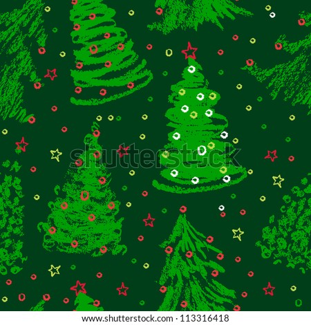 Christmas trees doodles. Seamless pattern in green - stock vector