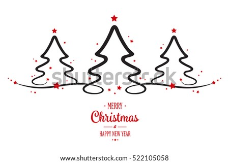 christmas trees greeting white background