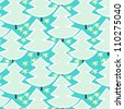 Christmas trees in blue forest seamless pattern, vector - stock photo