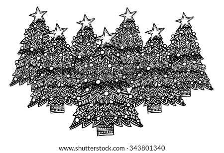 Christmas trees intricate hand drawn coloring page illustration. Black and white zentangle