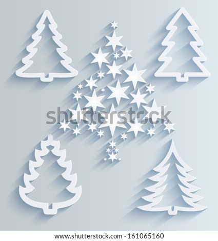 Christmas trees. Paper holiday decorations