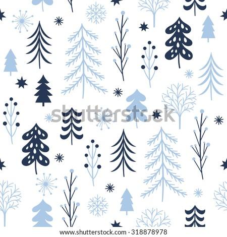 Christmas trees seamless pattern - stock vector
