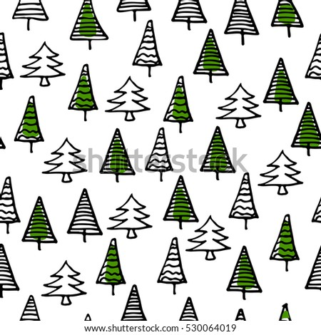 Christmas Trees Seamless Pattern For New Year Greeting Card Wallpaper Background Vector Illustration