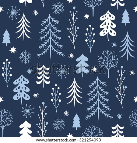 Christmas trees seamless pattern on a dark background  - stock vector