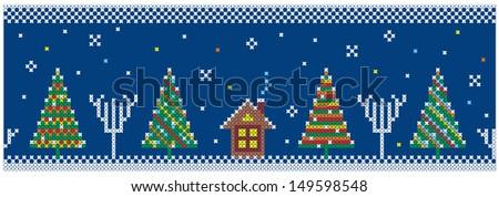 Christmas trees. Seamless pattern. Vector illustration. - stock vector