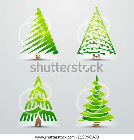 Christmas trees. Set of vector symbols (icons, signs, logos). Collection of creative Christmas elements - stock vector