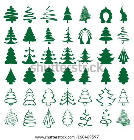 Christmas trees sketch big collection cartoon vector illustration