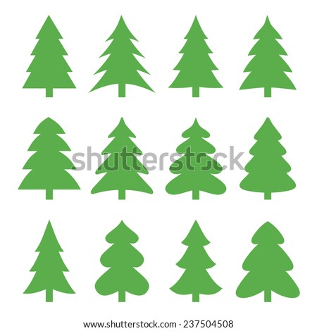 Christmas trees. Vector illustration. - stock vector