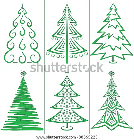 Christmas trees, winter holiday symbols, set isolated. Vector - stock vector