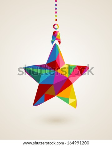Christmas trendy hanging star bauble made with colorful triangles composition. EPS10 vector file organized in layers for easy editing. - stock vector