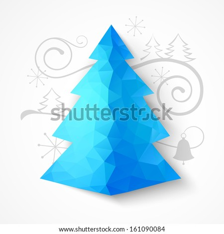 Christmas triangle fir tree. Vector illustration. - stock vector