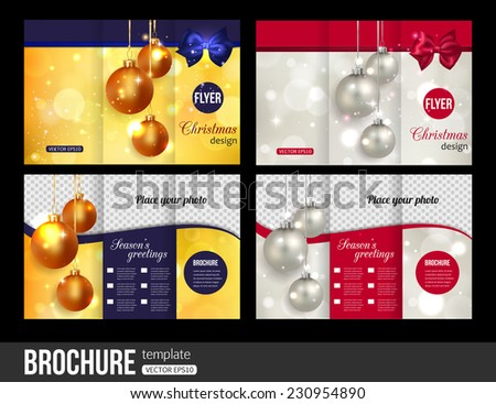 Christmas trifold brochure templates. Abstract flyer design with xmas bows, blurred bokeh lights and place for text. Back and front sides. Vector illustration. - stock vector