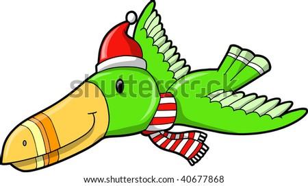 Christmas Tropical Bird Vector Illustration - stock vector