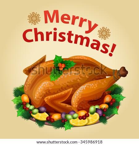 Christmas Turkey on platter with garnish, traditional christmas food. Vector illustration - stock vector