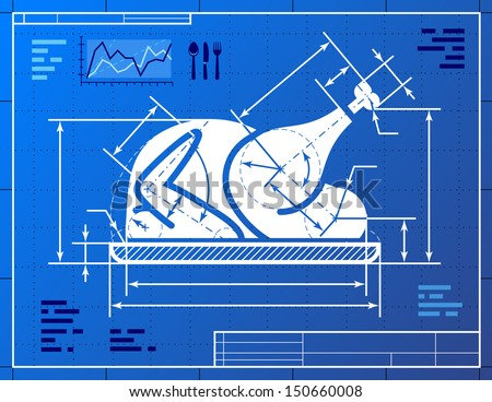 Christmas turkey symbol like blueprint drawing. Stylized drawing of roast turkey on blueprint paper. Vector image about cooking, holiday meals (christmas, thanksgiving), recipes, gastronomy, food, etc - stock vector
