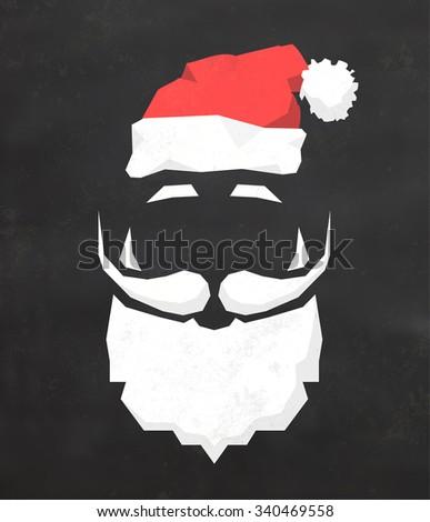 Christmas Typographic Background / Merry Christmas / Santa - stock vector