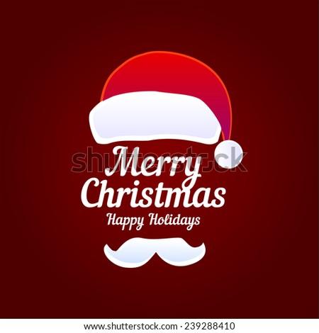 Christmas Typographic Background / Merry Christmas / Santa / Beard. Vector illustration - stock vector