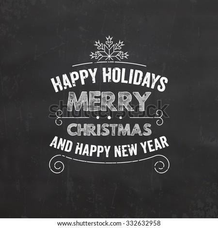 Christmas Typographic Background / Retro Design / Merry Christmas / Happy New Year - stock vector